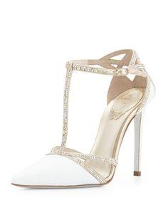 Crystal Snakeskin T-Strap Sandal, White by Rene Caovilla at Bergdorf Goodman.