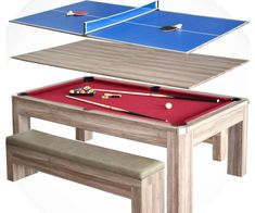 Transform your dining room into a fun game room instantly using this 3-in-1 picnic pool and ping pong table. This seven foot table features a solid build that lets you alternate between a blue ping pong table, red pool table, or a lovely wooden dining table.