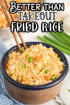 Better Than Takeout Fried Rice – Quick & Easy Dinner or Side Dish! Better Than Takeout Fried Rice in a bowl with chop sticks Jasmine Rice Recipes, Cooking Jasmine Rice, Easy Rice Recipes, Asian Recipes, Mexican Food Recipes, Side Dish Recipes, Vegetarian Recipes, Cooking Recipes, Asian Foods