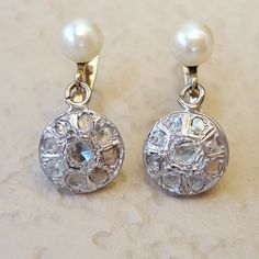 Antique Victorian to Edwardian 1 carat Diamond Drop Pearl Pearl White, White Gold, Pearl And Diamond Earrings, Rose Cut Diamond, 1 Carat, Cultured Pearls, Vintage Jewelry, Victorian, Antiques