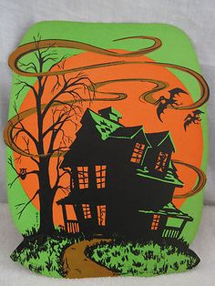 vintage beistle halloween haunted house - Beistle Halloween Decorations