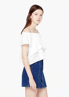 Ruffle t-shirt -  Women | MANGO