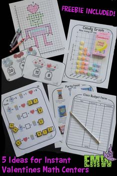 FREEBIE Included - Five quick print and go Valentine's Day math center ideas for you!