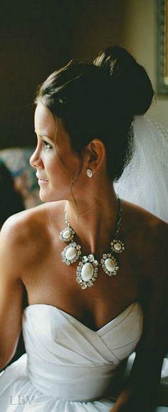 Bridal Statement necklace  #ladolcevita #wedding #gown #bridal #veil  #jewelry