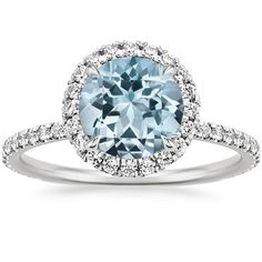 18K White Gold Aquamarine Waverly Ring (1/2 ct. tw.), top view More