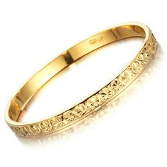 18K Gold Plated Engraved Bangle