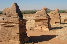 Archaeological Sites of the Island of Meroe, Sudan.  The semi-desert landscape between the Nile and Atbara rivers was the heart of the Kingdom of Kush, a major power center between 8:04 centuries BC.
