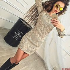 Oyster out and about Knit Fashion, Fashion Outfits, Womens Fashion, Vanessa Montoro, Clothes 2018, Long Sweaters, Handmade Clothes, Fall Dresses, Crochet Clothes