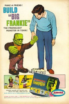 "1964 ""Big Frankie"" kit by Aurora vintage Halloween toy ad Frankenstein Vintage Advertisements, Vintage Ads, Vintage Trends, Vintage Movies, Vintage Dolls, Frankenstein's Monster, Monster Mash, Monster Squad, Monster Party"