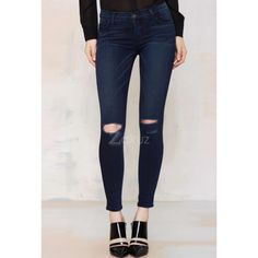 Low Waist Ripped Slim Blue Skinny Jeans Pants