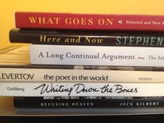 My first book spine poem - of poetry / poetics titles.