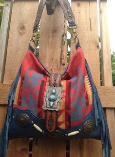 Pendleton Wool & Blue Suede Leather Western Fringed Bag with Vintage Findings
