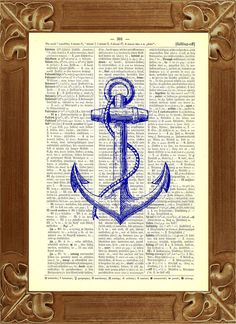 Blue Anchor printed on an upcycled dictionary page