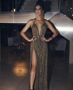 Deep V Neck Brown Long Prom Dresses Split Front Evening Dresses Elegant Dresses, Pretty Dresses, Sexy Dresses, Beautiful Dresses, Prom Dresses, Brown Formal Dresses, Sparkly Dresses, Quinceanera Dresses, Long Dresses