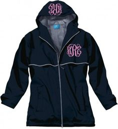 Double Monogrammed Raincoat Windjacket TinyTulip.com We're All About Personalization - Gifts Monogram Embriodery