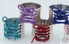 Sterling Silver Leather Wide Band Corset Ring by AuraleeCompany, $79.00