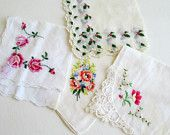 4 Seasons Hankie Collection, Vintage Hankies, Hanky, Retro Accessories, Spring, Winter, Fall, Summer, Holiday,  Lot 4 A,