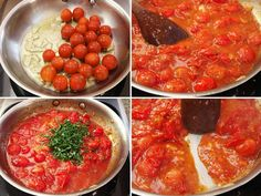 Use Cherry Tomatoes for the Fastest Fresh Pasta Sauce Ever Collage of making cherry tomato sauce: cooking tomatoes with garlic until they burst, adding fresh basil, stirring to form a sauce Cherry Tomato Pasta Sauce, Cherry Tomato Recipes, Pasta Sauce Recipes, Tomato Sauce Recipe, Easy Tomato Sauce, Sauce Tomate Fraiche, Cooking Tomatoes, Food Lab, Fresh Pasta