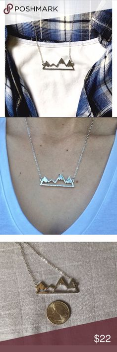 "Mountain Travel Necklace 14K plated mountain travel necklace by Wila.  So cute I had to keep one to take me back (one of my greatest adventures was spent in the Chugach Mountain Range in Alaska and I'm so ready to go back).  PRICE FIRM UNLESS BUNDLED (10% off bundles).                                                            Pendant: Slightly over 1.5""                                 Chain:  Can be worn at just under 18"" or extended to 20.5""…"