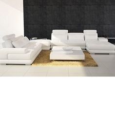!!   White leather contemporary sectional sofa sleeper with an ottoman  $850