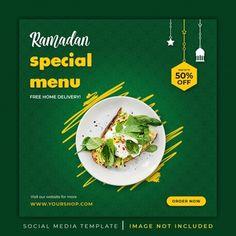 Food Graphic Design, Food Menu Design, Food Poster Design, Ramadan Recipes, Ramadan Food, Dark Food Photography, Restaurant Flyer, Food Banner, Social Media Banner