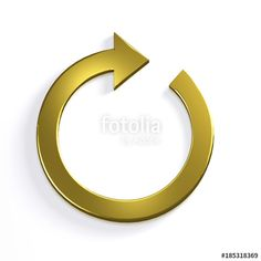 """Circular Arrow. Redo, Cycle, Restart, Loop Concepts. 3D Gold Golden Render Illustration"" Stock photo and royalty-free images on Fotolia.com - Pic 185318369"