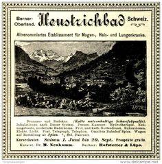 Original-Werbung/ Anzeige 1897: HEUSTRICHBAD / BERNER OBERLAND / SCHWEIZ ca. 100 X 100 mm