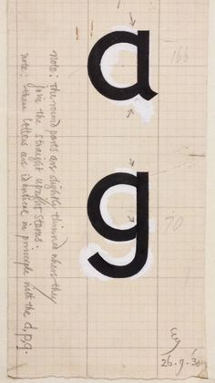 Eric Gill's exploratory drawings of a single-story a and g for Gill Sans, 1930. Not adopted.