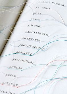 maria fisher - traumgedanken / a book on dreaming where the key words are connected by a thread