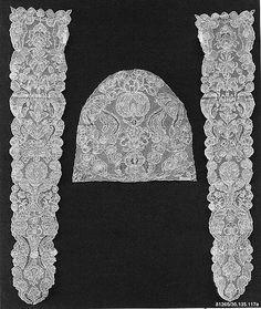 Cap crown and pair of lappets. 18th C. Bobbin Lace. Flemish. #30.135.117a-c