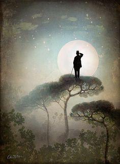 Hombre mirando la luna...