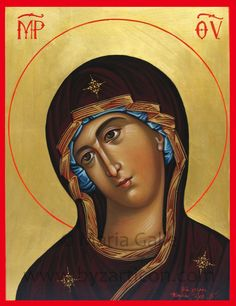 Theotokos by Maria Galie Religious Icons, Religious Art, Santa Maria, Byzantine Icons, Russian Orthodox, Blessed Virgin Mary, Orthodox Icons, Blessed Mother, Portrait