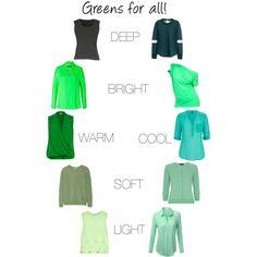 A green for every skin tone. Deep Autumn, Deep Winter, Seasonal Color Analysis, Color Harmony, Cool Tones, Season Colors, Color Theory, Autumn Fashion, Bath Soak