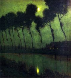 Bruges Moonlight, 1910 by Charles Warren Eaton. @designerwallace