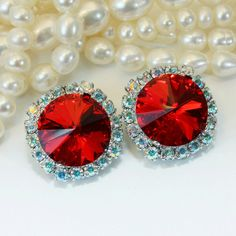 Red clip on earrings!  Available as drop earrings as well!  You can find a matching larger ring in my shop too!