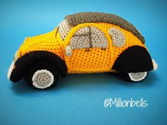 This --- PDF CROCHET PATTERN --- describes in US terms how to crochet a classic inspired French car amigurumi as shown on picture. (Pattern also available in Dutch and French !) Finished size will be approx. cm) long, cm) tall, cm) wide, crocheted using Crochet Hook Sizes, Crochet Yarn, Crochet Toys, French Classic, Classic Cars, Half Double Crochet, Single Crochet, Amigurumi Tutorial, Slip Stitch