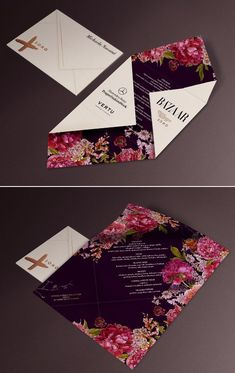 floral, botanical wedding invitation / reception menu design inspiration - fashion week invitation inspiration #weddinginvitation