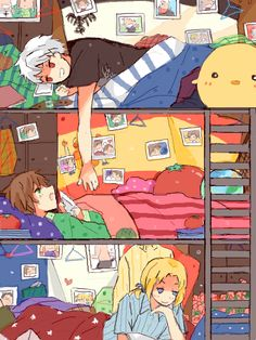 Seems legit. BTT Bad Touch Trio Hetalia Prussia Spain France bunk beds