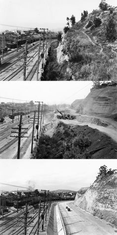 Before, during, and after construction of the Ramona Boulevard freeway just…