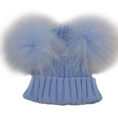 eb6ef354993 2017 Winter Warm Wool Knitted Striped Caps Kids Double Fur Balls Pom Pom Hat  Beanies For