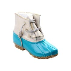 Women's Jack Rogers Chloe Duck Boot - Caribbean Blue Synthetic/Rubber... (3 040 UAH) ❤ liked on Polyvore featuring shoes, boots, jack rogers shoes, jack rogers boots and jack rogers
