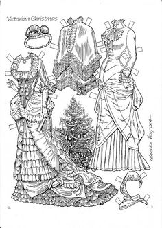 A Victorian Christmas Paper Doll by Charles Ventura of Victorian Paper Dolls, Vintage Paper Dolls, Colouring Pages, Coloring Books, Paper Toys, Paper Crafts, Paper Dolls Clothing, Doll Clothes, Paper Dolls Printable
