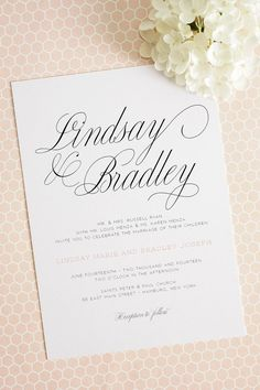 Calligraphy Wedding Invitations with Peach Accents. Perfect for a garden wedding!