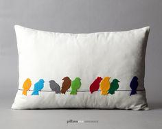 Pillowme / Handmade design felt bird pillow case-16x24 inch - yellow, white, red ,turquoise, green. $54.00, via Etsy.