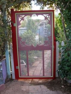 Screen Door used as a Garden Gate