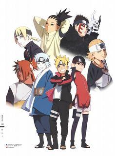 Naruto, The Art of Tetsuya Nishio Full Spectrum, Sarada Uchiha, Bolt Uzumaki, Shikadai Nara Mitsuki Naruto, Boruto And Sarada, Shikadai, Naruto Shippuden, Naruto Team 7, Naruto Family, Boruto Naruto Next Generations, Sasuke Vs, Naruto And Hinata