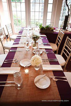 What do you think about the plum table cloths with burlap? Think I'd want the burlap more bunched don the center with candles/flowers, but like the combo.  Wedding Venue in Atlanta, GA | Flint Hill | PHOTOS