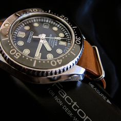 """985 Likes, 3 Comments - Watch on My Wrist ⌚ (@watchonmywrist) on Instagram: """"#Regram of @thr3e6ixfiv5. Wow, super cool shot of the #Seiko MarineMaster 300 on a leather NATO.…"""""""