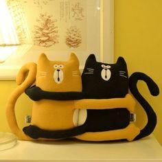Deko Kissen mit Katzen Motiv Bunte Katzen Orange und Schwarze