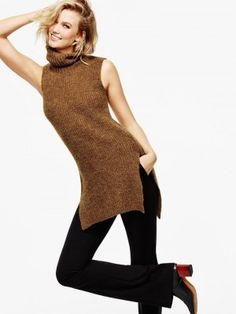 Karlie models a sleeveless tunic from Lindex